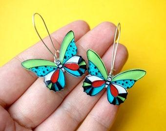 Butterfly dangle earrings, Butterfly jewelry, green blue butterflies