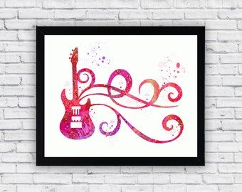 Guitar Watercolor printable, Guitar Printable Wall Art, Guitar wall decor, Guitar poster
