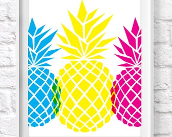 PINEAPPLE TRIO POSTER / 8x10 Wall Art Print