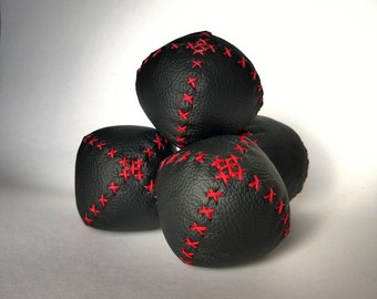 Red and Black handmade juggling balls - Set of four