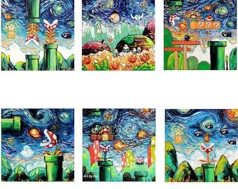 6 PRINT SET - Video Game Art Starry Night retro gaming man cave decor cool art Gamer print by Aja 8x8 10x10 12x12 20x20 24x24 choose size