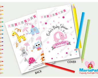 Elephant Coloring Books, Baby Shower Coloring Books, Personalized Party Favor A1211