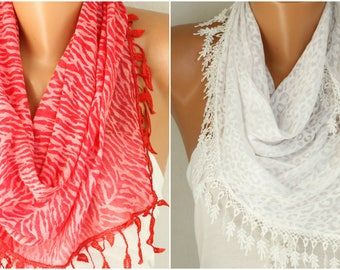 White & Red Leopard Print Combed Cotton Scarf, Birthday Gift Animal Scarf Cowl Scarf Gift Ideas For Her Women's Fashion Accessories