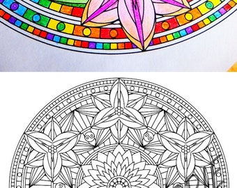 Mandala Coloring Page - Yin Yang Lilies - coloring page for adults to print and color