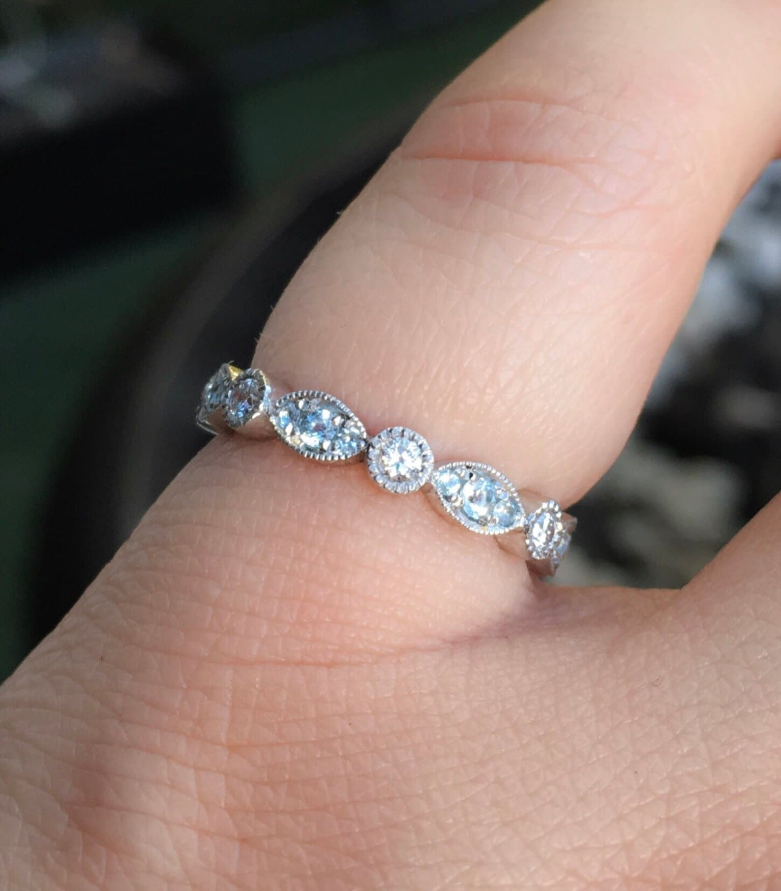 Marquise Dot Diamond Aquamarine Band Diamond Milgrain Eternity Ring ...