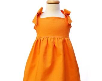 Girls Orange Dress, Girls Casual Dress, Girls Birthday Dress, Girls Dress, Girls Bow Dress, Girls Cotton Dress, Girls Bow Sleeve Dress