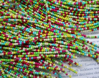 "2mm mixed colored artificial turquoise round beads, 16"" strand long"