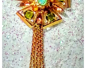 Alice Caviness Rhinestone Pendant Necklace 1940-50's era