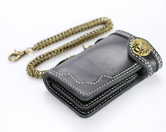 Leather biker wallet Brass skull concho Trucker wallet Mens bifold leather wallet chain Black leather wallet for men Hand stitched leather