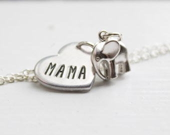Mama Elephant Necklace - Silver Mama Elephant Jewelry - Gift for Mom Necklace - Mother Elephant Cyber Monday Sale Gift for Mothers Day Gift