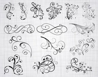 Decorative Vine Ornaments SVG, Vine SVG, Swirls Svg, Clipart, Cut Files For Silhouette, Files for Cricut, Vector, Svg, Dxf, Png, Eps, Decal
