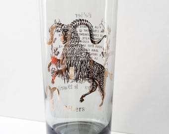 Aries Astrology Glassware Tinted Black Gray Gold Foil (Single)