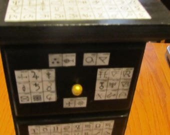 Tall Wood 3 Drawer Cabinet  Alchemical Table Symbols