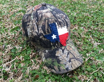 Woodlands Camo Baseball Hat w/ Handcrafted Leather Texas/Flag Emblem