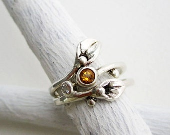 Citrine White Sapphire Leaf Rings, Set of 2 Rings, Small Leaf Silver Rings with Citrine and White sapphire