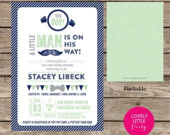 Printable Little Man themed Boy Baby Shower Invitation- Lovely Little Party