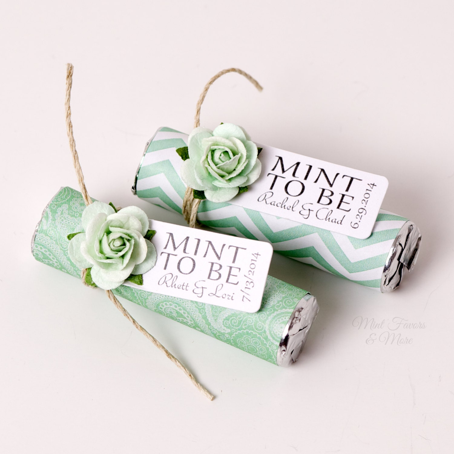 Mint Wedding Favors with Personalized Mint to be