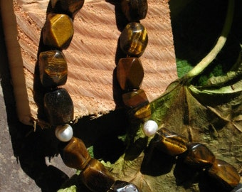 Chunky Tiger's Eye and Fresh Water Pearl Necklace~Strength~Vitality~Wealth