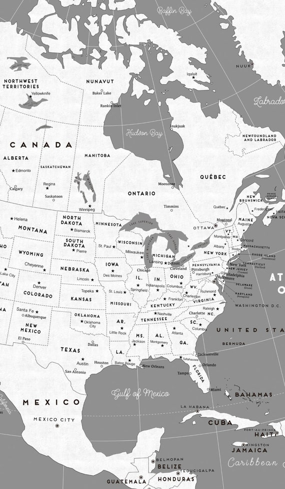 Canvas Large North America Map Rustic White Gray Color