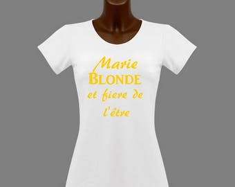 White blonde and proud... personalized with name t-shirt
