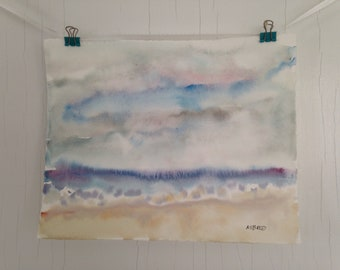 Original Watercolor Painting, Stormy Sea Watercolor, Landscape Painting, Beach Art Painting, Cape Cod Landscape, Expressive Watercolor 8x10