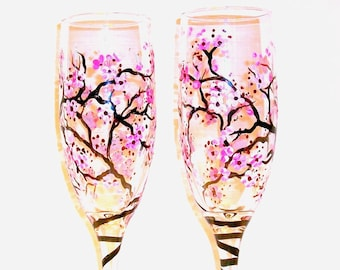 Cherry Blossoms Wedding Glasses Spring Wedding Hand Painted Champagne Flutes Set of 2 / 6 oz. Pink Flowers Toasting Flutes Wedding Flutes