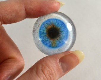 25mm Blue Glass Eye for Pendant Jewelry Making or Taxidermy Fantasy Human Doll Eyeball Flatback Circle with White Sclera