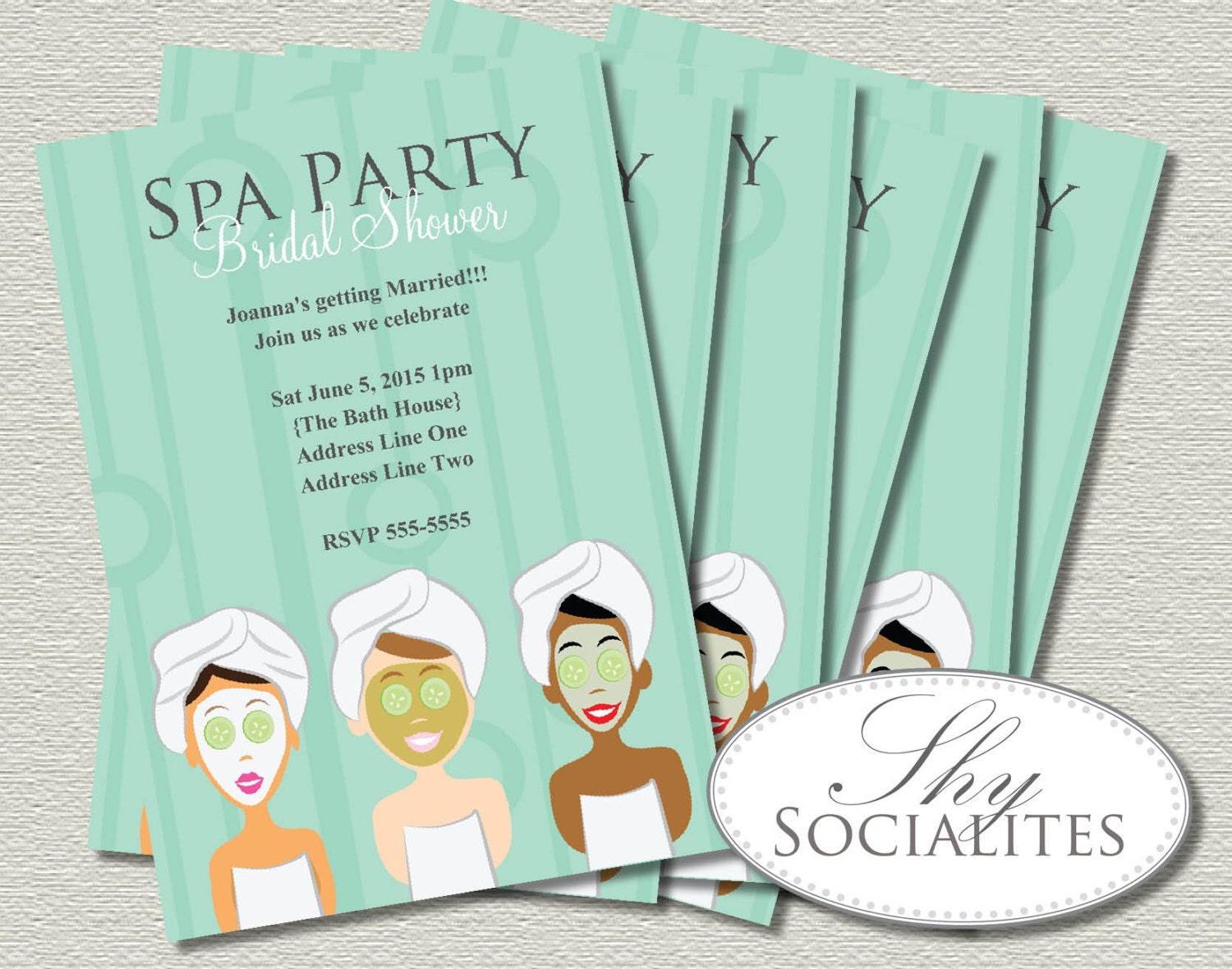 Spa Party Invitation Pedicure Pamper Manicure Spa Day