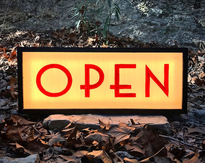 Classic Art Deco Double Sided Custom  LED Light Box Open Sign