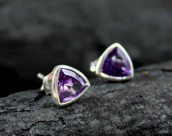 Amethyst Earring, Natural Gemstone Earring, Birthstone Jewelry, Amethyst Stud Earrings, Purple Gemstone Jewellery,ETER1003