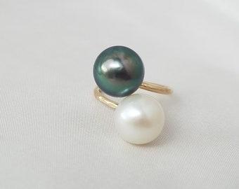 Double Tahitian pearl ring