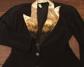 Vintage black evening jacket w/assymmetrical beaded label sz 8