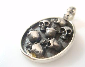 Sterling Silver 925  multy Skulls Pendant Jewelry Art