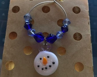 Snowman Wine Glass Charm