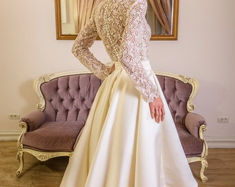 Nubia short wedding dress with lace