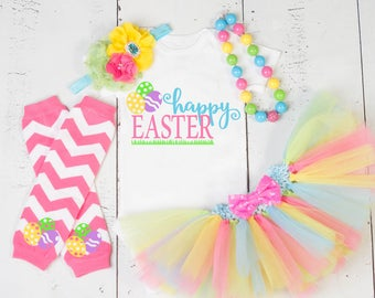 EASTER TUTU OUTFIT,Girls Easter Outfit,Baby Girl My First Easter Outfit,Bunny Kisses,Blue Yellow Lime Green Pink Girls Easter Photo Outfit