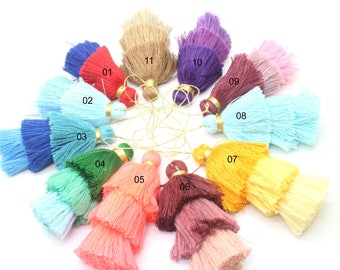 "Muti-color 2pcs 2.7""-3.1''(7-8cm) triple layer tassels Layers Craft Fiber Tassels Cotton Tassel for Earring Necklace Pendant GD28ST173T"