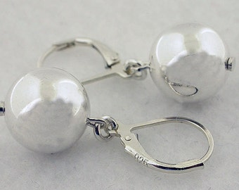 Sterling Silver Ball With Lever Back Earrings