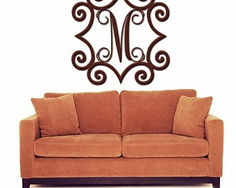 Wrought Iron Inspired Wall Art With Monogram Initial | Indoor Or Outdoor Metal  Wall Art | Metal Wall Decorations