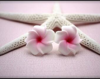 Flower Earrings Plumeria Frangipani Flower Jewelry Floral Earrings Hawaii Jewelry Hawaiian Jewelry Tropical Earrings Stud Earrings 015