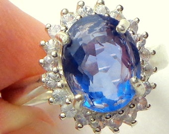 Natural Color Change Fluorite, White Topaz Halo, Purple Blue to Plumb Stone, Sterlilng Silver Ring, Hallmarked 925