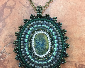 Dark Green Druzy Bead Embroidered Pendant on Bronze Chain