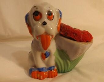 FREE SHIPPING vintage lusterware bonzo pincushion dog figurine (Vault 27)