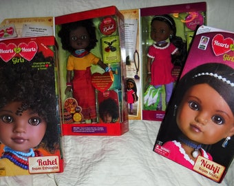 Free Shipping for Seniors!!  Hears Hearts for Hearts Girls doll Nahji from India and Rahel from Ethiopia  LOT OF 4 DOLLS Mint in the box.