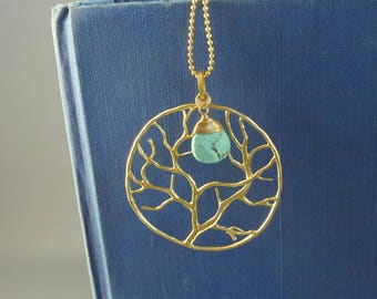Serenity. Gold Tree Necklace. tree of life necklace. family tree necklace. long gold necklace. layering necklace. modern necklace.