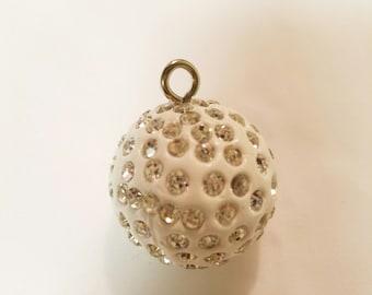 1 Top Drilled Clay Rhinestone Ball Pendant 26mm