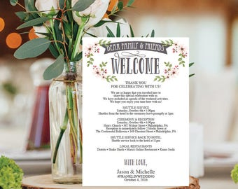 Wedding Itinerary Template - Wedding Welcome Bag Printable Itinerary - Editable Welcome Letter - 5x7 Wedding Agenda - Country Bloom - DIY
