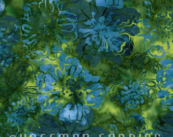 Sale! Hoffman Fabrics - Bali Batik Cliff Rose Floral in Moss / Green with Blue L2639-98