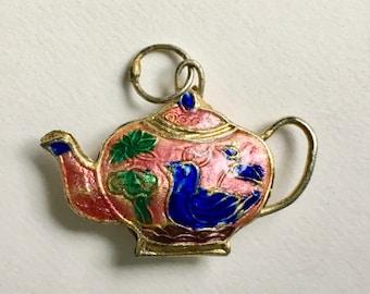 vintage cloisonne teapot charm/pendant