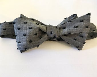 Swiss dot bow tie, polka dot, skinny tie, cotton, wedding, groomsmen, chambray tie, custom tie, mens tie, self tie, chambray
